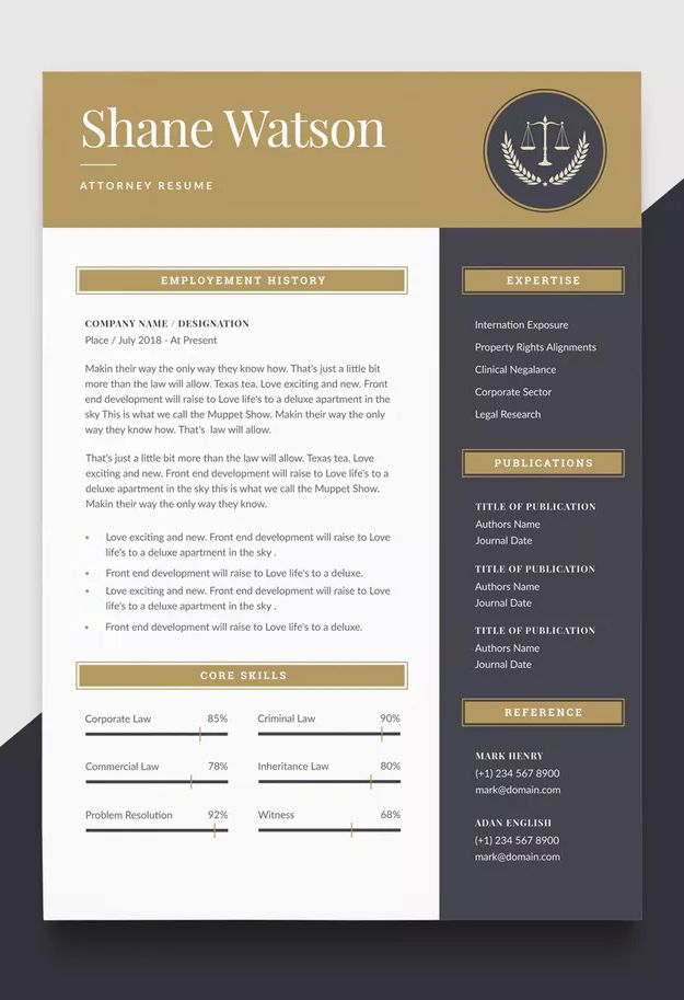 Resume Templates Lawyer CV Template AI EPS