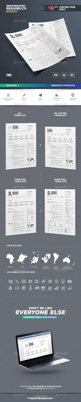 Resume Templates : Infographic Resume / Cv Template PSD
