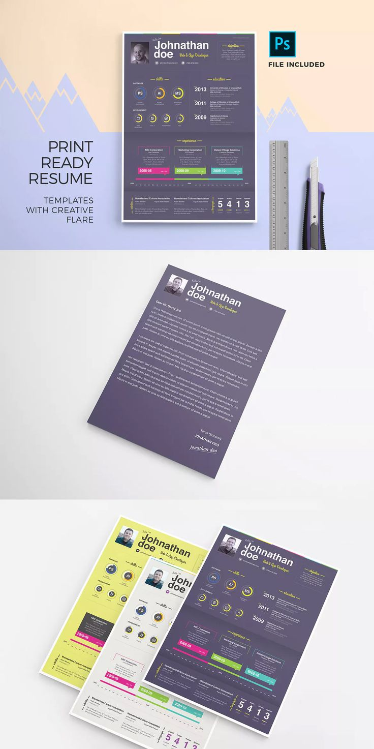 Resume Templates : Print Ready Resume Template & Cover ...