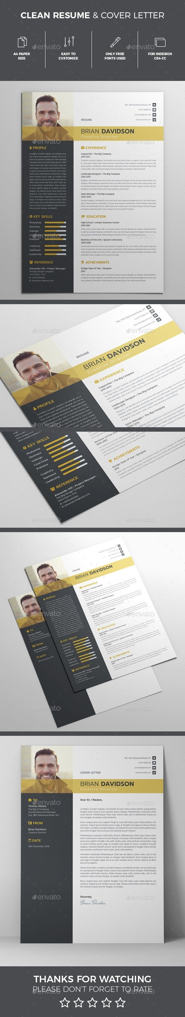 Resume Templates Template InDesign INDD Download