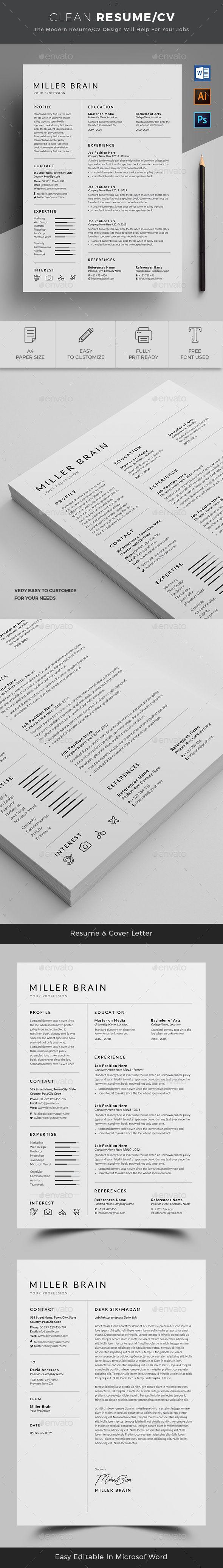 Resume Templates : Resume Template PSD, AI Illustrator, MS ...