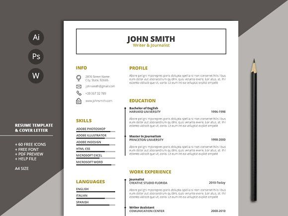 Resume Templates & Design : Resume Template & Cover Letter