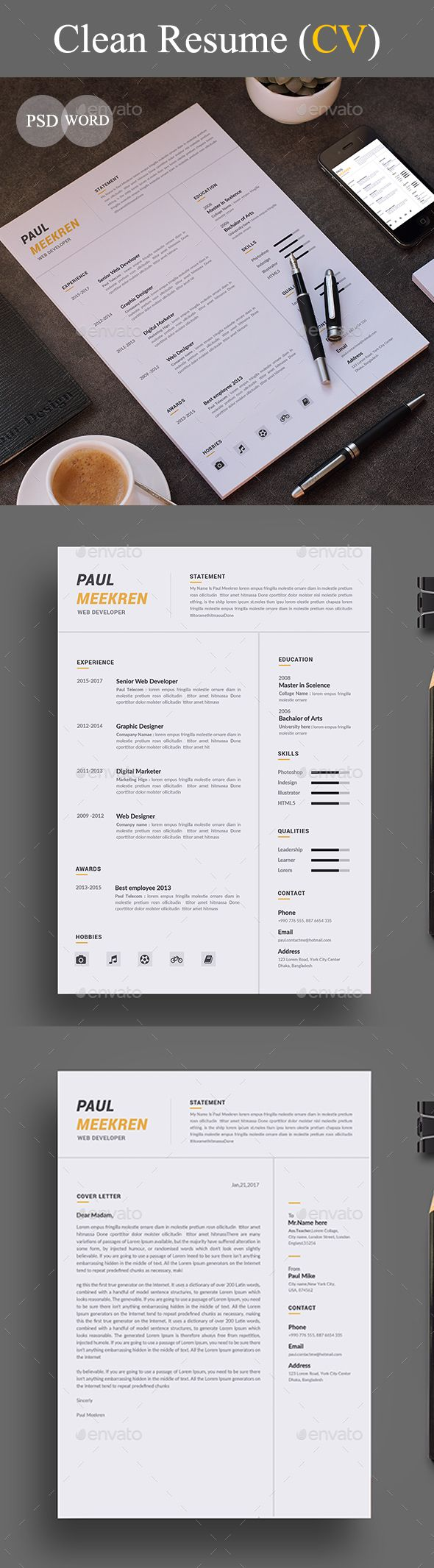 Resume Templates Resume Cover Letter Template PSD MS